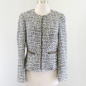 Calvin Klein Tweed Peplum Zip Front Jacket